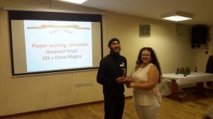 BWIPCC awards - Harpreet Singh batsman 2nd team century