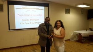 BWIPCC awards - Ricardo Thompson 2nd team bowling 5 wickets
